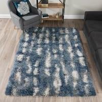Addison Rugs Borealis Blue/White Plush Abstract Shag Area Rug