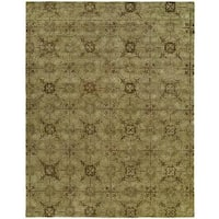 Newpot Mansions Light Green Wool Hand-tufted Area Rug - 6' x 9'