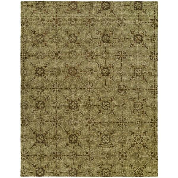 Newport Mansions Light Green Wool Hand-tufted Area Rug (8' x 10')