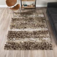 Addison Borealis Brown/Beige Plush Abstract Shag Area Rug (5'3 x 7'7)