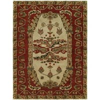 Newpot Mansions Sand/ Red Wool Hand-tufted Modern Area Rug - 5' x 8'