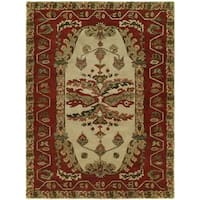 Newpot Mansions Sand/ Red Wool Hand-tufted Area Rug (8' x 10')