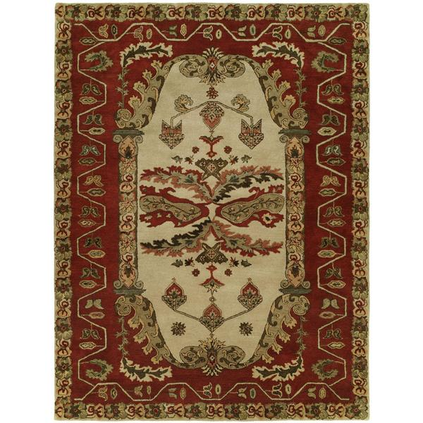 Newpot Mansions Sand/ Red Wool Hand-tufted Area Rug - 9' x 12'