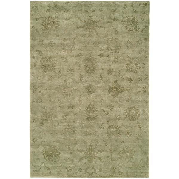 "Nirvana Celadon Viscose/Wool Hand-knotted Runner Rug (2'6 x 8') - 2'6"" x 8'"