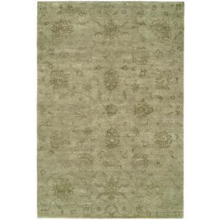 Nirvana Celadon Viscose/Wool Hand-knotted Runner Rug (2'6 x 8')