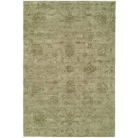 Nirvana Celadon Khaki Wool Viscose Hand-knotted Area Rug (6' x 9')