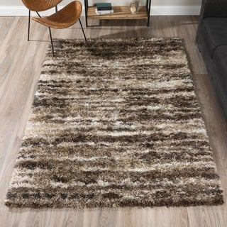 "ADDISON Borealis Plush Abstract Shag Mushroom/Ivory Area Rug (5'3""X7'7"")"