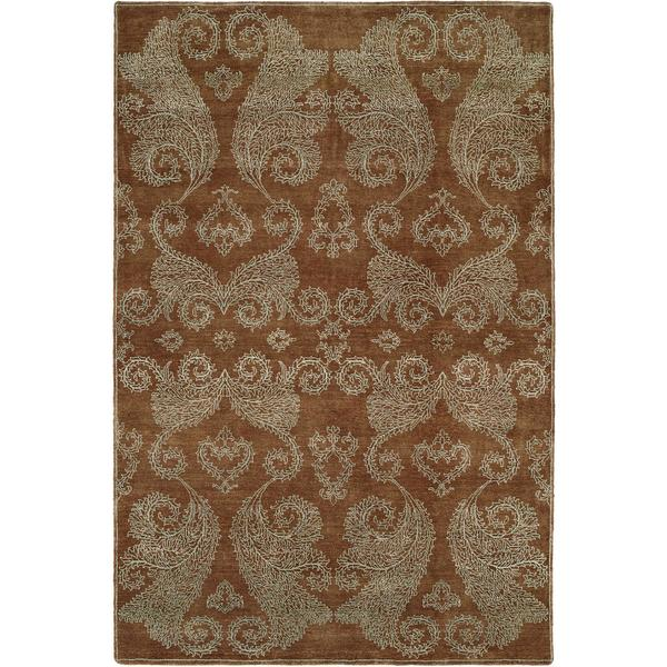 Nirvana Transitional Hazelnut Brown Wool/Silkette Hand-knotted Area Rug (8' x 10')