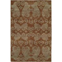 Nirvana Transitional Hazelnut Brown Wool/Silkette Hand-knotted Area Rug (8' x 10') - 8' x 10'