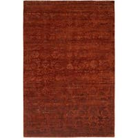 Nirvana Rich Russet Wool/ Viscose Hand-knotted Area Rug (6' x 9') - 6' x 9'