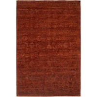 Nirvana Rich Russet Wool/ Viscose Hand-knotted Area Rug (6' x 9')