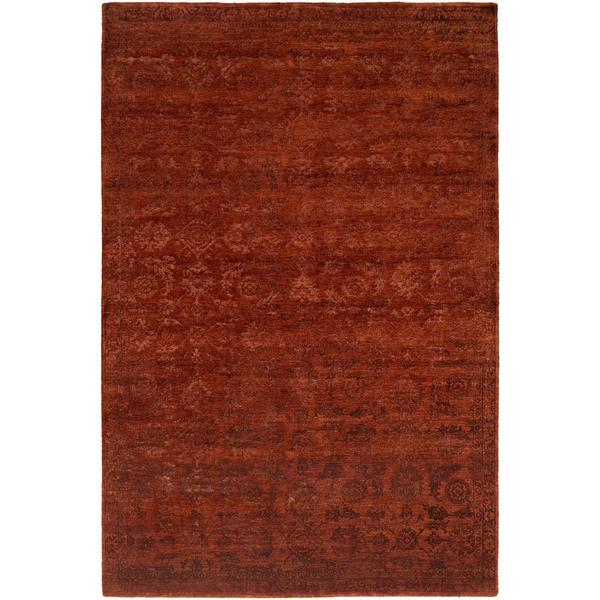 Nirvana Rich Russet Wool/Viscose Hand-knotted Area Rug (8' x 10') - 8' x 10'