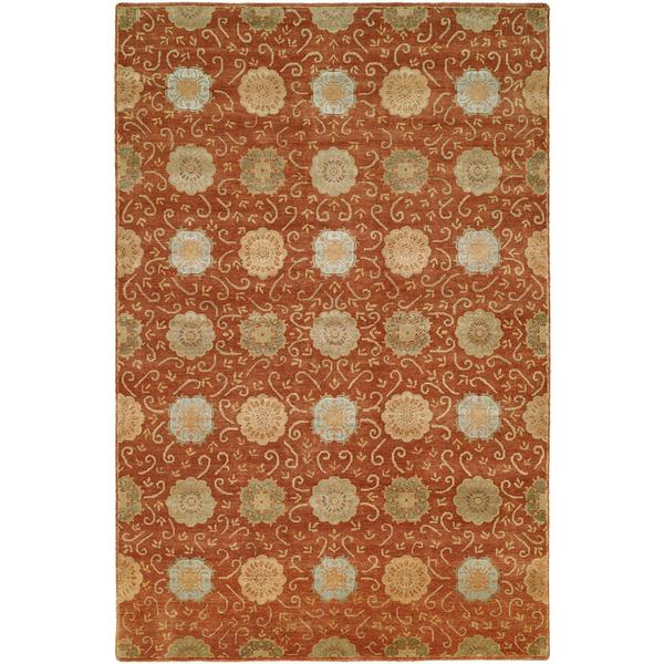 Nirvana Rust/Beige Wool Blend Floral Hand-knotted Area Rug (8' x 10')