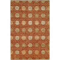 Nirvana Rust Wool Hand-knotted Area Rug (9' x 12') - 9' x 12'