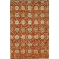 Nirvana Rust Wool Hand-knotted Area Rug (9' x 12')