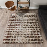 Addison Rugs Borealis Plush Abstract Shag Rust/Taupe/Ivory Area Rug - 9'6 x 13'2