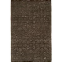Nirvana Smokey Brown Hand-knotted Wool Area Rug (6' x 9')