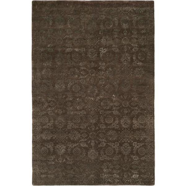 Nirvana Smokey Brown Wool Hand-knotted Area Rug (8' x 10') - 8' x 10'