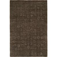 Nirvana Smokey Brown Wool Hand-knotted Area Rug (8' x 10')