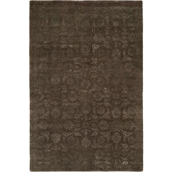 Nirvana Smokey Brown Wool Hand-knotted Area Rug (9' x 12')