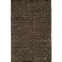 Nirvana Smokey Brown Wool Hand-knotted Area Rug (9' x 12') - 9' x 12'