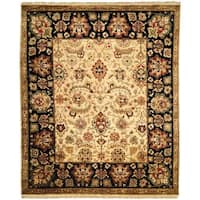 Nomad Plum/ Ivory Wool Hand-knotted Moroccan Area Rug (6' x 9') - 6' x 9'