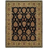 Pasha Black/Gold Wool Hand-knotted Area Rug (10' x 14') - 10' x 14'