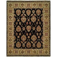 Pasha Black/Gold Wool Hand-knotted Area Rug (4' x 6') - 4' x 6'