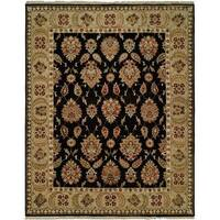 Pasha Black/Gold Hand-Knotted Wool Area Rug (9' x 12')