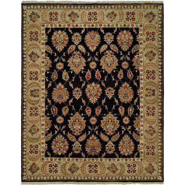 Pasha Black/Gold Hand-Knotted Wool Area Rug (9' x 12') - 9' x 12'
