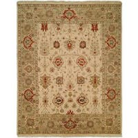 Pasha Geometric Hand-knotted Wool/ Cotton Indoor Area Rug (5' x 7')