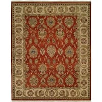 Pasha Rust/Ivory Hand-knotted Wool Area Rug (10' x 14') - 10' x 14'