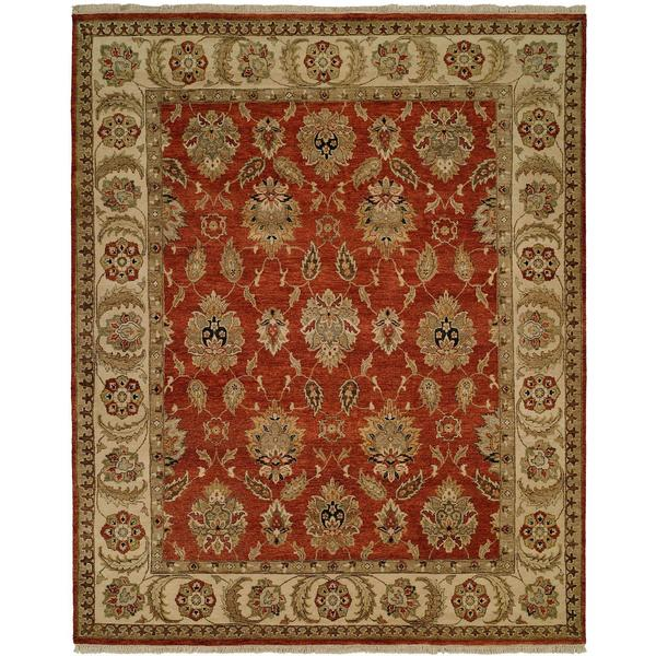 Pasha Rust/Ivory Wool Hand-knotted Area Rug (9' x 12')