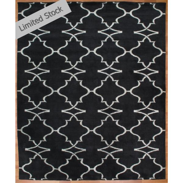 Portfolio Navy Wool Viscose Hand-knotted Area Rug (9' x 12')