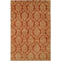 Royal Manner Derbshire/Rust Wool Hand-knotted Area Rug - 4' x 6'