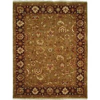 Royale Camel/ Eggplant Hand-knotted Wool Area Rug (6' x 9') - 6' x 9'
