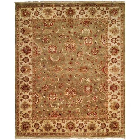 Royale Collection Floral Hand-knotted Sage/ Ivory New Zealand Wool Indoor Area Rug (6' x 9')