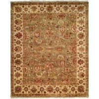 Royale Collection Floral Hand-knotted Sage/ Ivory New Zealand Wool Indoor Area Rug (6' x 9') - 6' x 9'