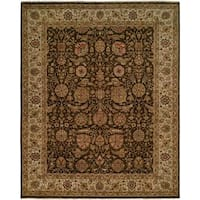 Shajahan Brown/Ivory Wool Hand-knotted Area Rug (10' x 14')