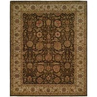 Shajahan Brown/Ivory Wool Hand-knotted Area Rug (10' x 14') - 10' x 14'