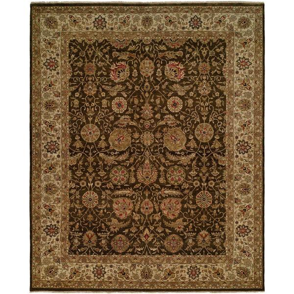Shajahan Brown/Ivory Wool Hand-knotted Area Rug (8' x 10') - 8' x 10'