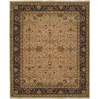 Shajahan Ivory/ Black Wool Hand-knotted Area Rug (5' x 7')