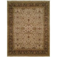 Shajahan Ivory/Brown Wool Hand-knotted Area Rug (6' x 9') - 6' x 9'