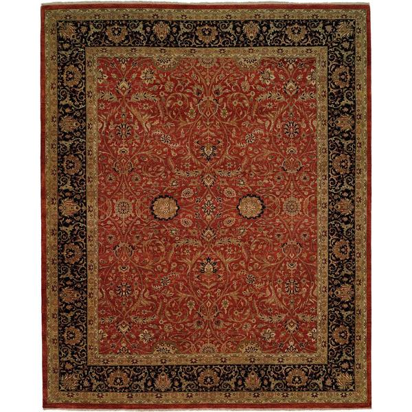 Shajahan Rust/Black Hand-Knotted Area Rug (2' x 3')