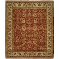 Shajahan Rust/Ivory Wool Hand-knotted Area Rug (9' x 12') - 9' x 12'