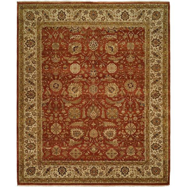 Shajahan Rust/Ivory Wool Hand-knotted Area Rug (9' x 12')
