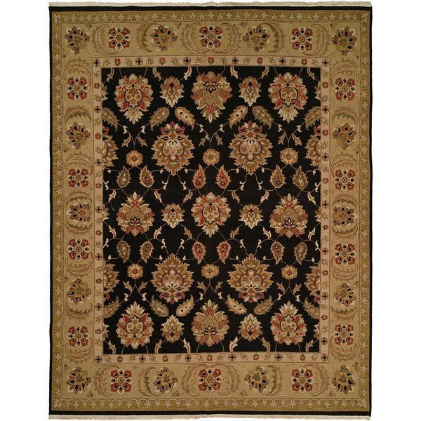 Sierra Black/ Gold Wool Soumak Area Rug - 8' x 10'