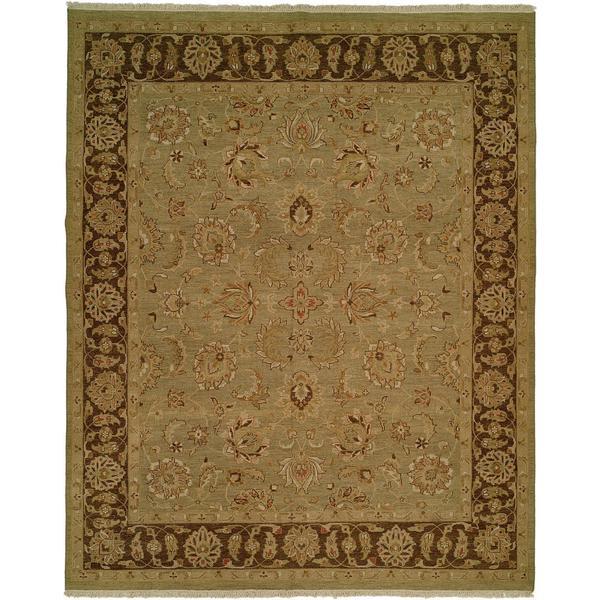 Sierra Olive Green/Brown Wool Soumak Reversible Area Rug - 10' x 14'