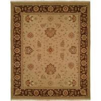 Sierra Melbourne Tan/Brown Wool Soumak Geometric Reversible Area Rug (4' x 6')