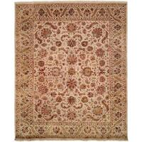 Tabernacle Ivory Wool and Silk Hand-knotted Area Rug (8' x 10') - 8' x 10'
